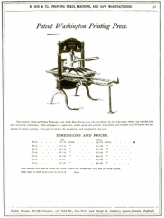 Washington Printing Press Patent